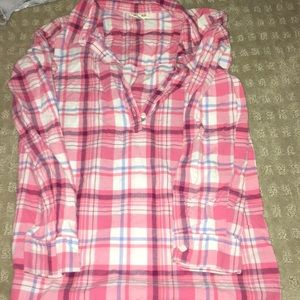 Pink and blue halfway button down